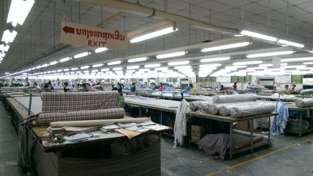 Local Vientiane textile plant. A total of 1500 traditional light bars will be replaced with LEDs.